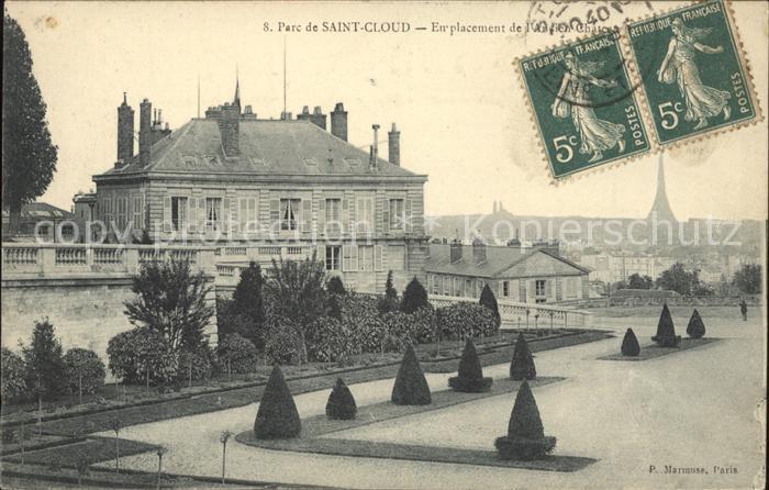 Saint Cloud Hauts de Seine Emplacement de l ancien Chateau Parc Stempel auf AK Kat. Saint Cloud