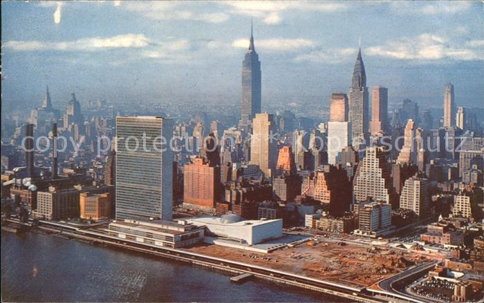 New York City United Nations Building Empire State Building Chrysler Building aerial view / New York /