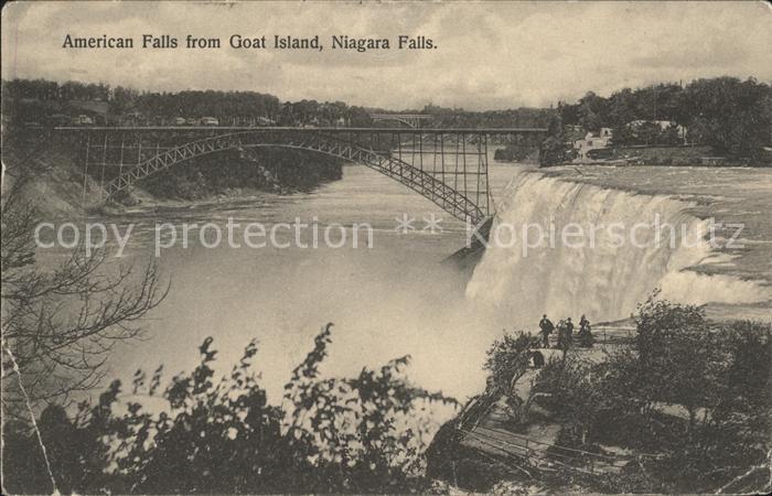 Niagara Falls New York American Falls as seen from Goat Island Bridge Kat. Niagara Falls