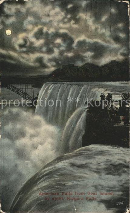 Niagara Falls New York American Falls from Goat Island at night moonlight Kat. Niagara Falls