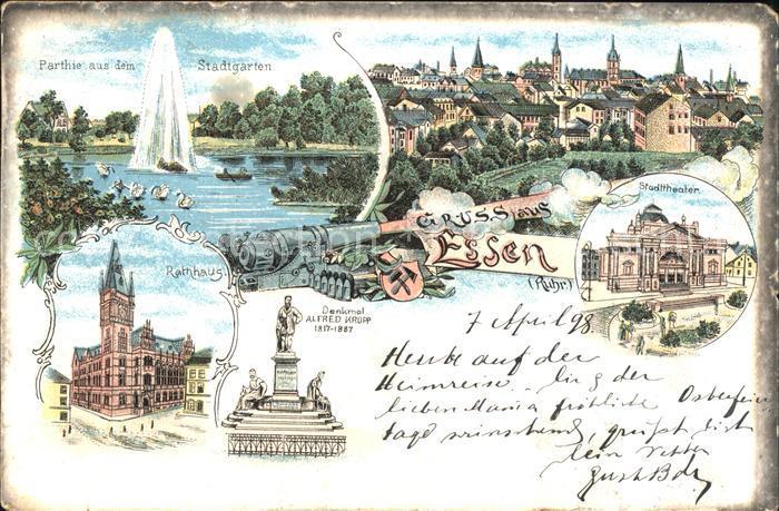 Essen Ruhr Denkmal Alfred Krupp Stadttheater Rathaus Litho / Essen /Essen Stadtkreis