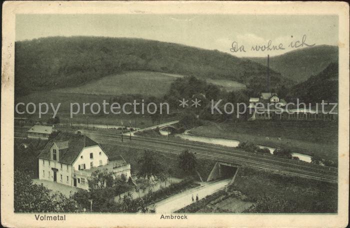 Ambrock Hagen im Volmetal Eisenbahn Gasthof zum Ambrock Bahnpost / Hagen /Hagen Stadtkreis