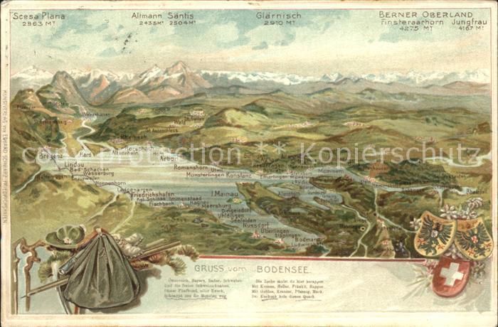 Lindau Bodensee und Umgebung aus der Vogelschau Berner Oberland Alpen / Lindau (Bodensee) /Lindau LKR