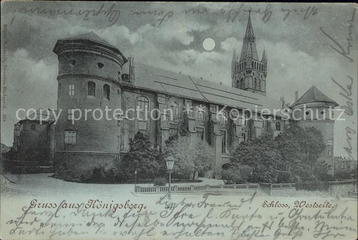 Koenigsberg Ostpreussen Schloss bei Nacht Mond / Kaliningrad /