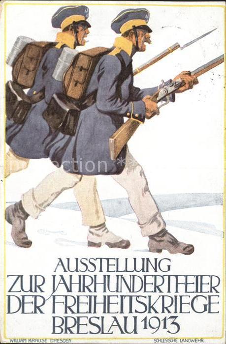 Breslau Niederschlesien Ausstellung zur Jahrhundertfeier der Freiheistkriege Soldaten / Wroclaw /