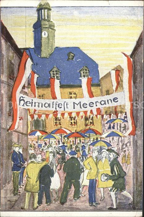 Meerane Heimatfest Marktfest Kuenstlerkarte P. Mazeck  / Meerane /Zwickau LKR