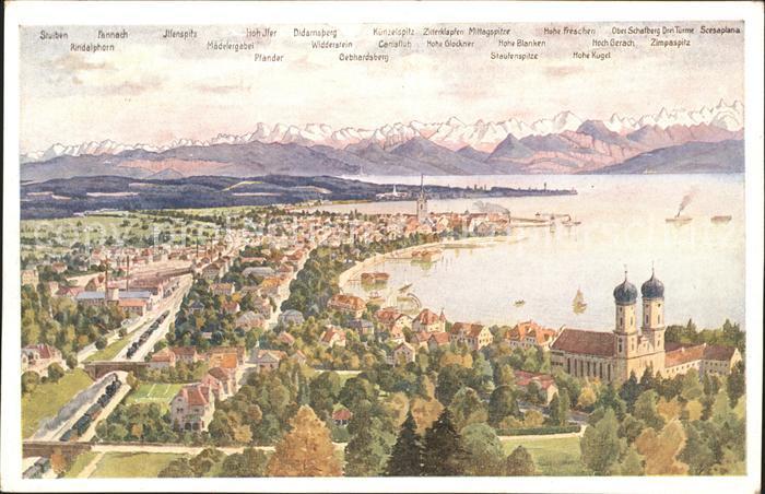Friedrichshafen Bodensee mit Gebirgspanorama Kat. Friedrichshafen