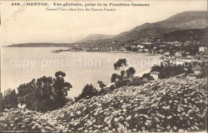 Menton Alpes Maritimes Vue generale prise de la Frontiere Garavan Kat. Menton