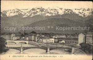 Grenoble Vue generale Pont et la Chaine des Alpes Kat. Grenoble