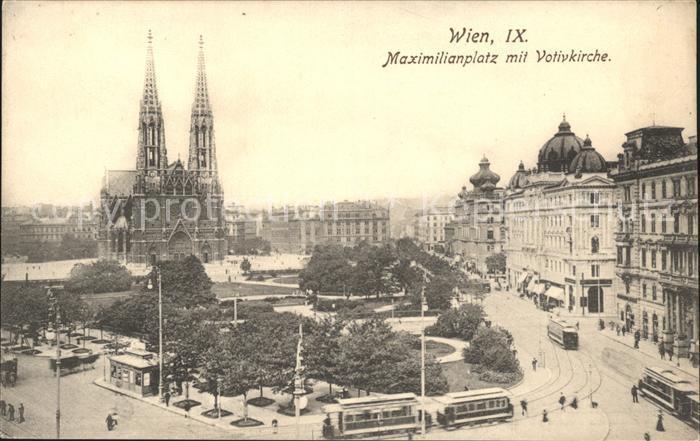 Wien Maximilianplatz mit Votivkirche Strassenbahn Kat. Wien