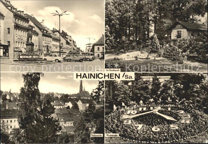 Hainichen Sachsen Markt Blumenuhr Stadtpark Kat. Hainichen Sachsen