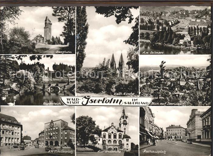 Iserlohn Rathausplatz Schillerplatz Alexanderhoehe Danzturm Kat. Iserlohn