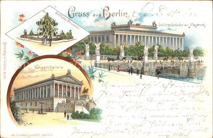 Berlin Schlossbruecke mit Museum Schlossbrunnen National Galerie Kat. Berlin