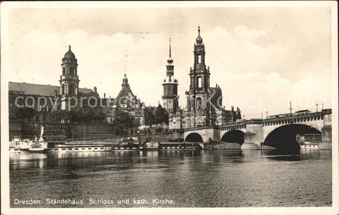 Dresden Staendehaus Schloss Katholische Kirche Bruecke Kat. Dresden Elbe
