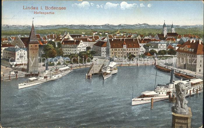 Lindau Bodensee Hafenpartie Dampfer Bayerische Loewe Kat. Lindau (Bodensee)
