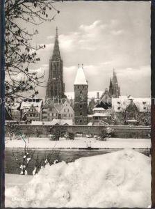Ulm Donau Partie an der Donau im Winter Muenster Kat. Ulm