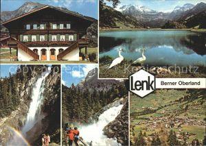 Lenk Simmental Schwaene Wasserfall Gasthaus Ortsansicht Kat. Lenk Simmental