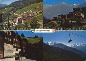 Visperterminen Dorf Niederhaeusern alte Haeuser Giw Sesselbahn Kat. Visperterminen