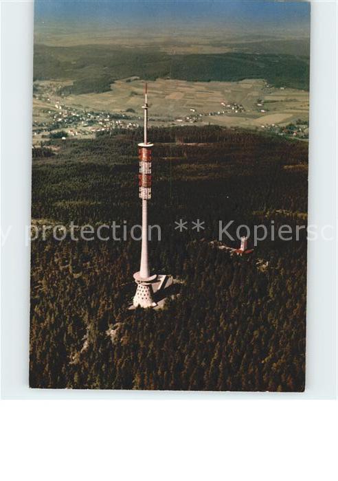 Bischofsgruen Fernsehturm auf dem Ochsenkopf Fichtelgebirge Fliegeraufnahme Kat. Bischofsgruen