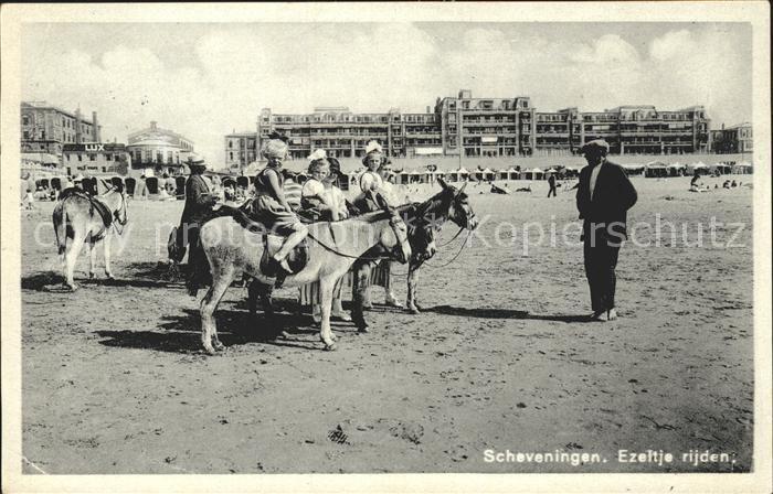 Scheveningen Ezeltje rijden Eselreiten Strand Kat. Scheveningen