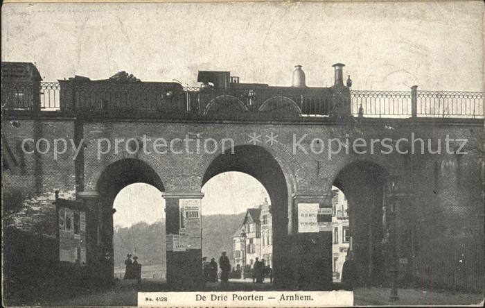 Arnhem De Drie Poorten Dampflokomotive Eisenbahnbruecke Kat. Arnhem