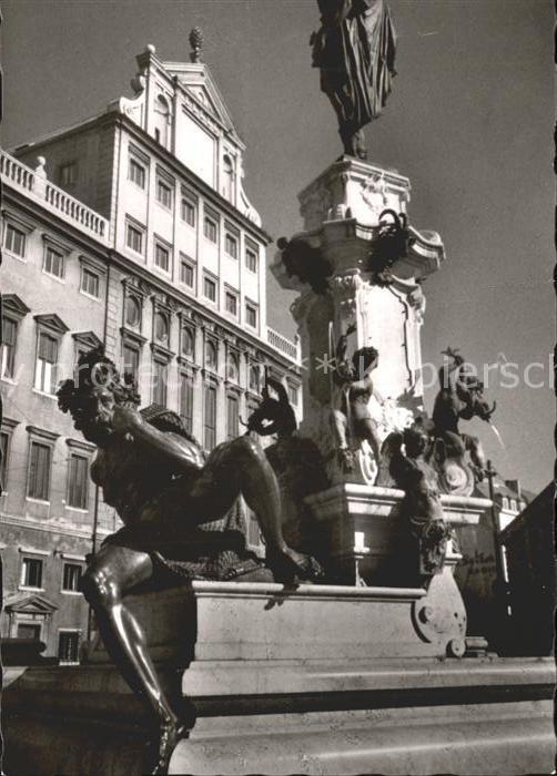 Augsburg Augustusbrunnen mit Rathaus Kat. Augsburg