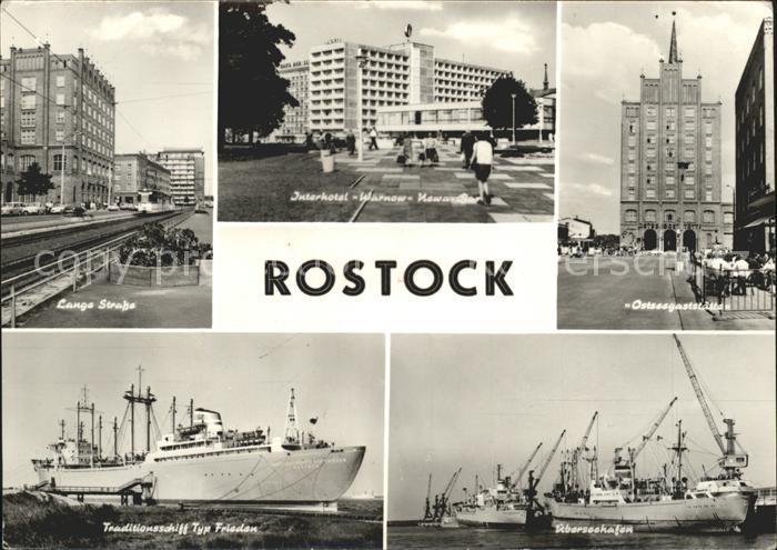 Rostock Mecklenburg Vorpommern Lange Strasse Interhotel Warnow Hafen Schiffe Kat. Rostock
