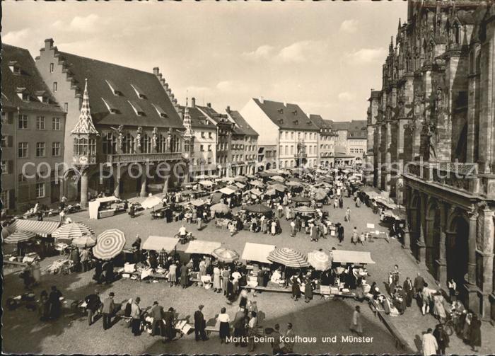 ak freiburg markt beim kaufhaus und m nster nr 6310548 oldthing ansichtskarten deutschland. Black Bedroom Furniture Sets. Home Design Ideas