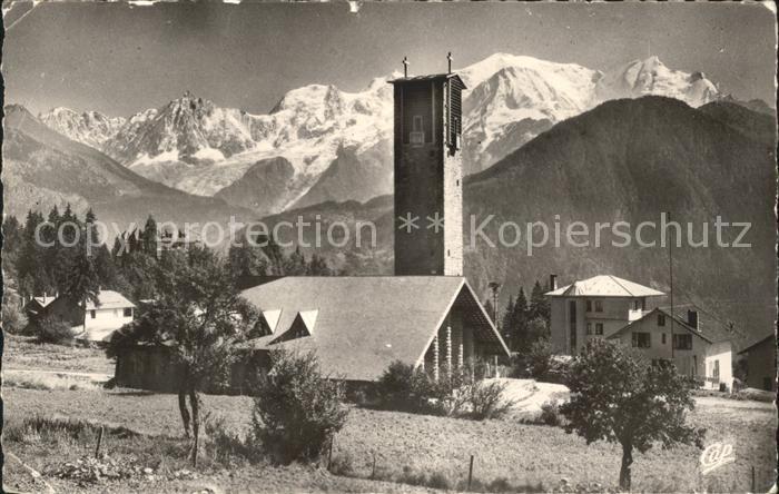 Assy Passy Haute Savoie Eglise Plateau vue sur le Mont Blanc Kat. Passy