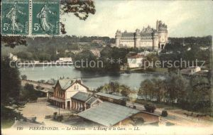 Pierrefonds Oise Chateau Etang et la Gare Stempel auf AK Kat. Pierrefonds