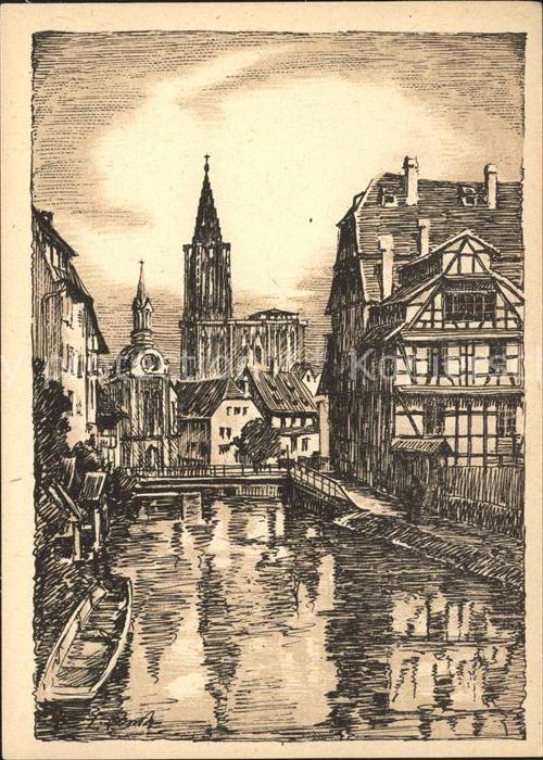 Strasbourg Alsace Les Bains aux Plantes Dessin Kuenstlerkarte Kat. Strasbourg