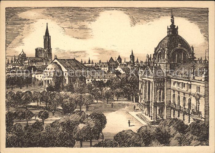 Strasbourg Alsace Palais du Rhin et Cathedrale Dessin Kuenstlerkarte Kat. Strasbourg