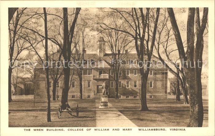 Williamsburg Virginia Wren Building College of William and Mary Historic Building Kat. Williamsburg