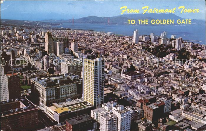 San Francisco California Panoramic vew from Fairmont Tower Golden Gate Bridge Kat. San Francisco