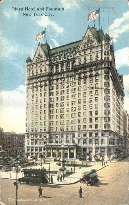 New York City Plaza Hotel and Fountain Flag / New York /