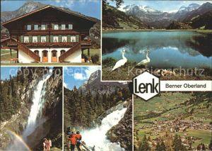 Lenk Simmental Gasthaus Schwanenteich Wasserfall Totalansicht Kat. Lenk Simmental