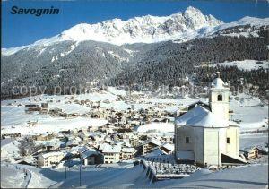 Savognin Panorama mit Kirche Kat. Savognin
