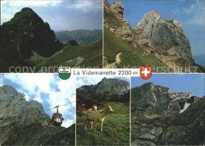 La Videmanette sur Rougemont Alpes Vaudoises Seilbahn Gemsen Kat. La Videmanette