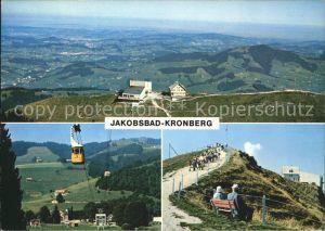 Gonten Panorama mit Luftseilbahn Jakobsbad Kronberg Kat. Gonten