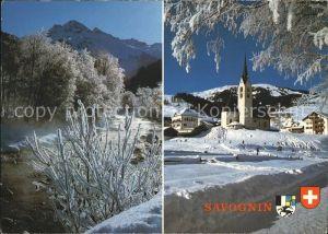 Savognin Ortsblick mit Kirche Landschaftsbild Kat. Savognin