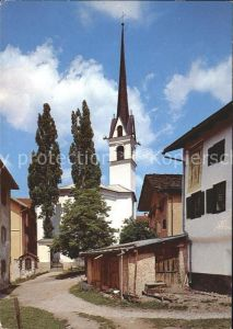 Savognin Dorfpartie mit St Michaels Kirche Kat. Savognin