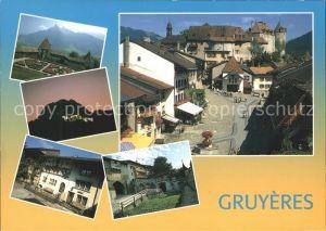 Gruyeres FR La ville et ses remparts le chateau et le jardin a la francaise Kat. Gruyeres