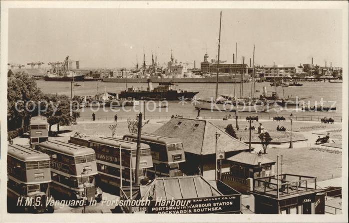Portsmouth HMS Vanguard in Portsmouth Harbour Kriegsschiff Kat. Portsmouth