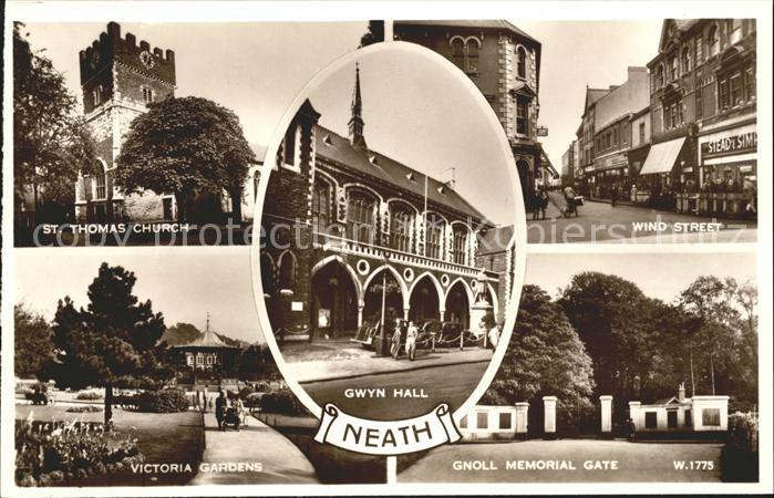Neath Port Talbot St Thomas Church Gwyn Hall Wind Street Victoria Gardens Gnoll Memorial Gate Valentine s Post Card Kat. Neath Port Talbot