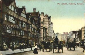 London Old Houses Holborn Pferdekutsche Kat. City of London