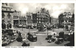 London Piccadilly from top of Haymarket Monument Doppeldeckerbus Kat. City of London