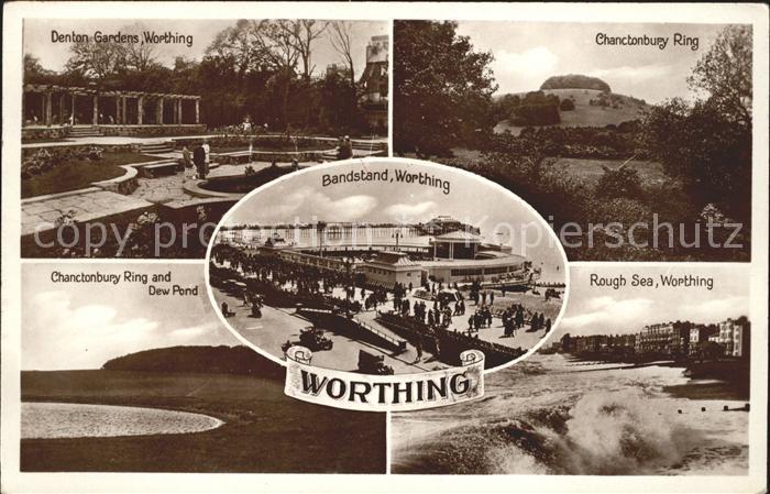 Worthing West Sussex Denton Gardens Chanctonbury Ring Rough Sea Dew Pond Bandstand Promenade / Worthing /West Sussex