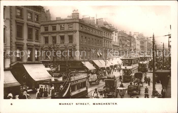 Manchester Market Street Tram Kutsche Kat. Manchester