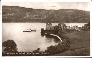 Loch Ness Inverness Nairn The Gondolier passing Castle Urquhart Lake / Inverness & Nairn /Inverness & Nairn and Moray, Badenoch & Strathspey