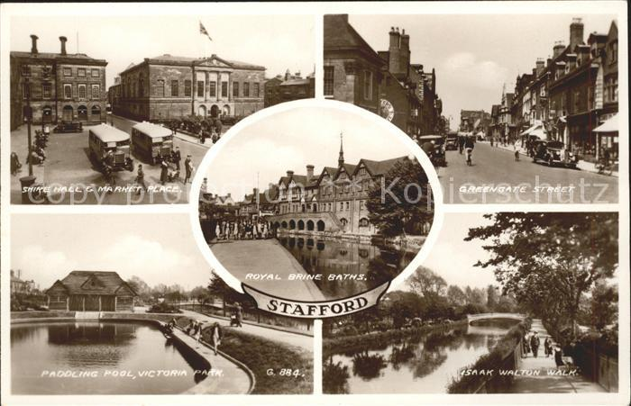 Stafford Shire Hall Market Place Greengate Street Pool Park Walk Royal Brine Baths Valentines Post Card Kat. Stafford